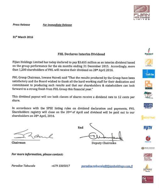 FHL Declares Interim Dividend